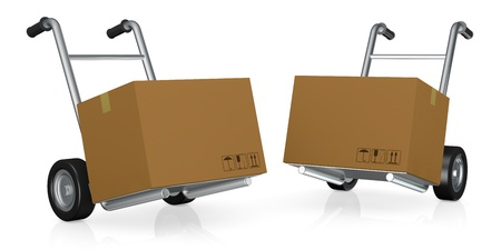 two hand trucks (trolley) with carton boxes (3d render) photo