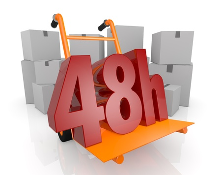 closeup of a hand truck (trolley) and the 48h text  with many carton boxes on background (3d render) photo