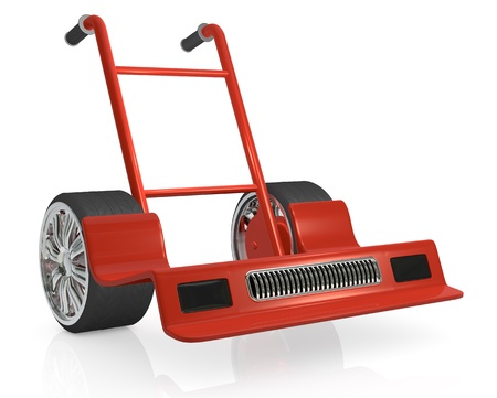 one hand truck (trolley) like a racing car; humorous concept of fast delivery (3d render) photo