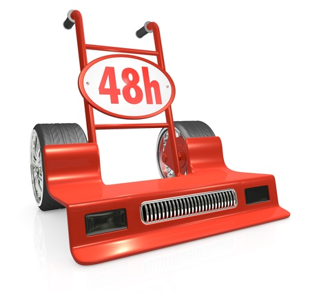 48: one hand truck (trolley) like a racing car; humorous concept of fast delivery (3d render) Stock Photo