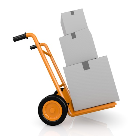 moving truck: one hand truck (trolley) with three carton boxes (3d render)