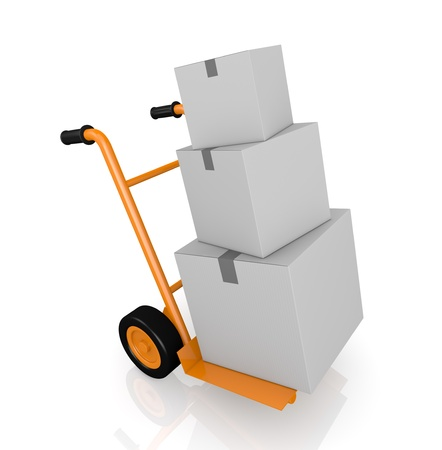 one hand truck (trolley) with three carton boxes (3d render) photo