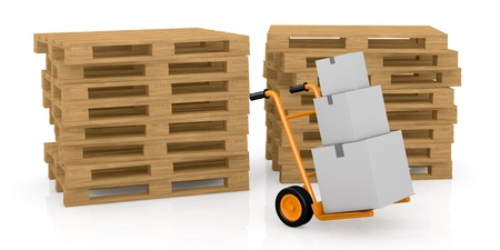 packaging equipment: one hand truck (trolley) with carton boxes and two piles of pallets on background (3d render)