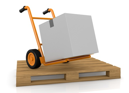 one hand truck (trolley) over a pallet (3d render) Stock Photo - 13727455