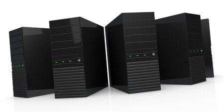 front view of five computers (3d render) photo