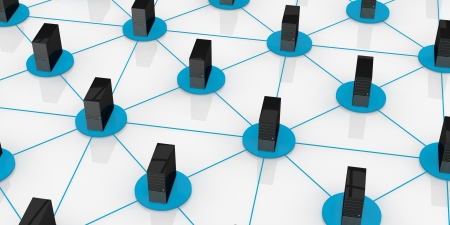 top view of computers connected each other; concept of network and of data exchange (3d render) Stock Photo - 13727530