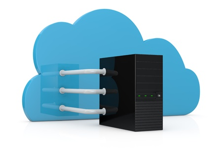 computer server connected to a cloud with three big pipes; concept of cloud computing (3d render) photo