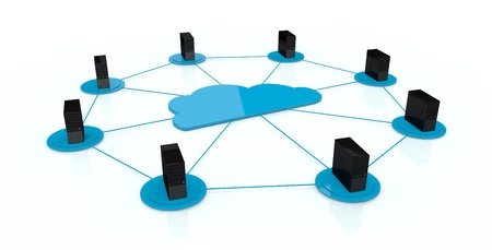 computer servers connected each other and with a big cloud on center; concept of cloud computing (3d render) Stock Photo - 13727374