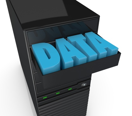 close up of one computer server with a drawer and the word: data into it (3d render) photo