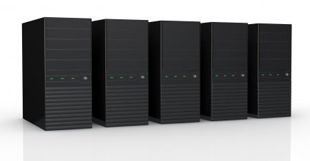 one row of five black computers (3d render) photo