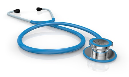 check up: one blue stethoscope on a reflecting floor (3d render) Stock Photo