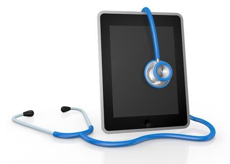 computer service: ein Tablet-PC und ein Stethoskop; Konzept der Computer-Reparatur-oder medizinischer Technologien (3D-Darstellung) Lizenzfreie Bilder