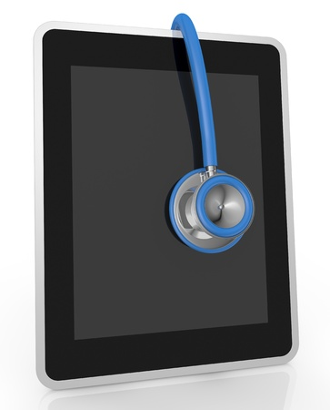 one tablet pc and a stethoscope; concept of computer repair or medical technologies (3d render) Stock Photo - 13727391