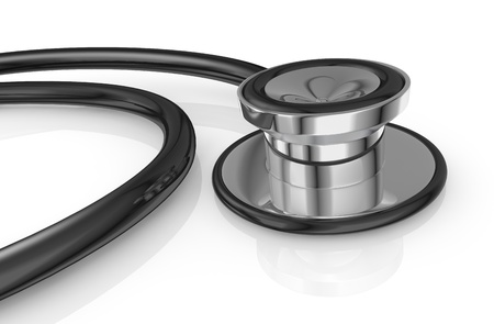 closeup of a black stethoscope (3d render) photo