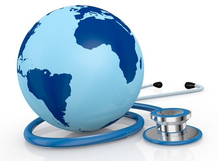 global health: one stethoscope with a world globe (3d render)