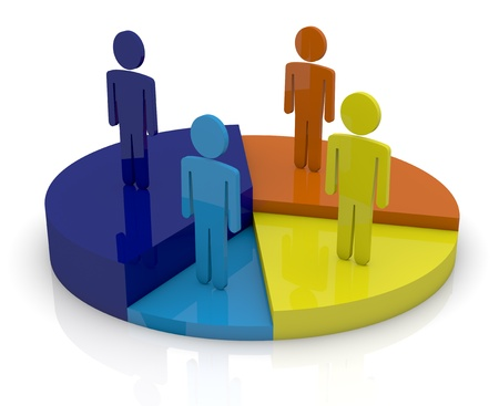 one pie chart with cartoon men on it (3d render) photo
