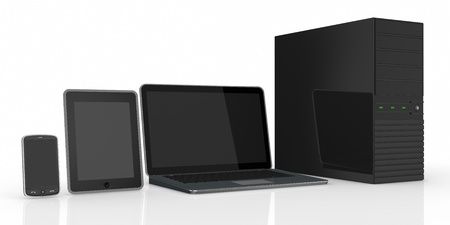 computer server notebook tablet pc and smartphone (3d render) photo