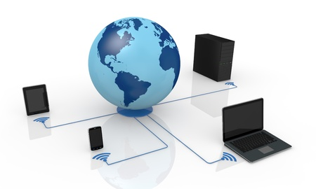 one world globe and wireless network with electronic devices (3d render) Stock Photo - 13936411