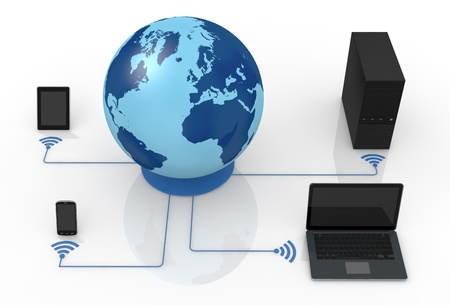 one world globe and wireless network with electronic devices (3d render) Stock Photo - 13936442