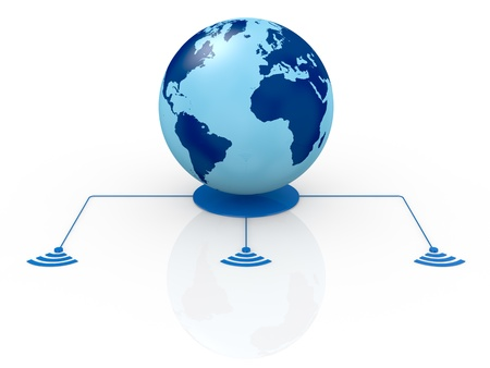 one world globe with wireless connection (3d render) Stock Photo - 13936369