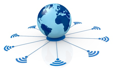 one world globe with wireless connection (3d render) Stock Photo - 13936385