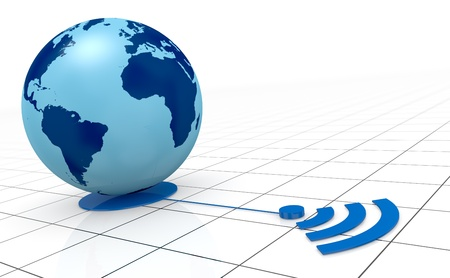 one world globe with wireless connection (3d render) photo