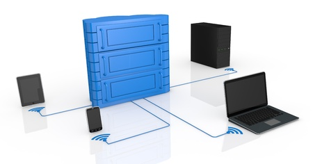 electronic devices connected to a data center made with a cloud (3d render) photo