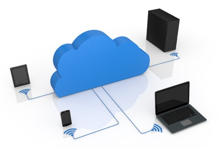 electronic devices connected to a cloud (3d render) photo