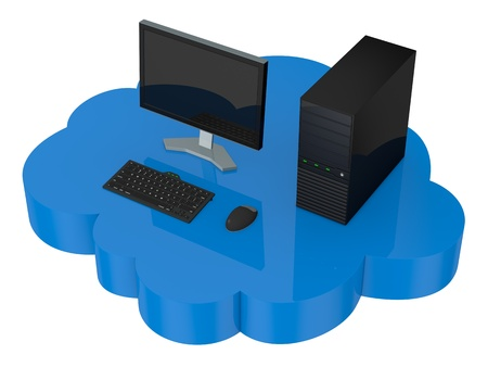 computer desktop that fly over a cloud (3d render) photo