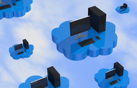computer desktop that fly over a cloud (3d render) photo
