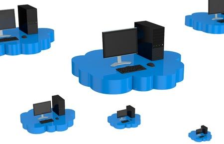computer desktop that fly over a cloud (3d render) Stock Photo - 13936367