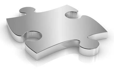 art piece: close up of one puzzle piece made of steel (3d render)