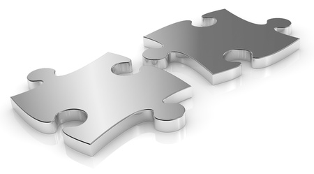 two pieces: close up of two  puzzle pieces made of steel (3d render)