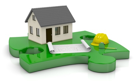 one beautiful house and a blueprint on a puzzle piece (3d render) Stock Photo - 13936445