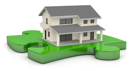 one beautiful house on a puzzle piece (3d render) photo