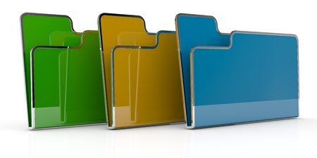 one row of three computer folders in different color (3d render) photo