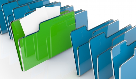 file folders: one row of computer folders, one folder has two sheet, concept of search and find data (3d render)
