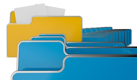 one row of computer folders, one folder has two sheet, concept of search and find data (3d render) Stock Photo - 13936408