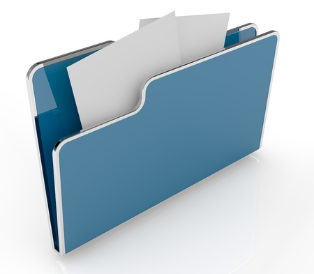 paper art projects: top view of a computer folder with a chrome border (3d render)