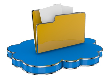 folder icon over a cloud, concept of cloud computing (3d render) photo