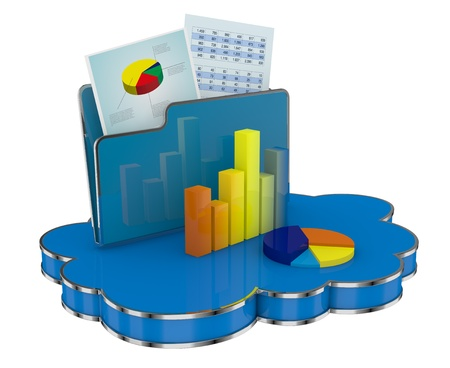 expenses: bar and pie chart on a cloud. concept of online data sharing and storage (3d render)