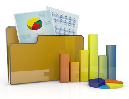computer folder with chart and spreadsheet (3d render) photo