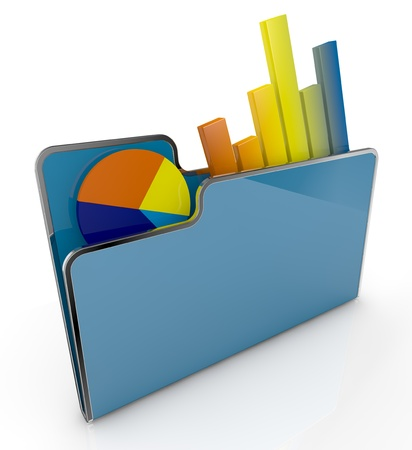 financial analysis: computer folder with bar and pie chart (3d render)