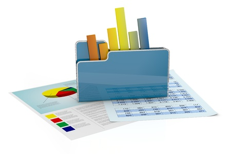 스프레드 시트: 차트 및 스프레드 시트와 컴퓨터의 폴더 (3d 렌더링)