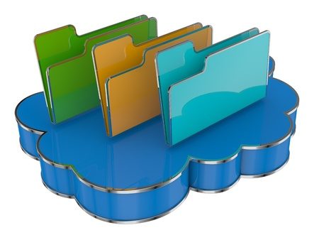 folder icon over a cloud, concept of cloud computing (3d render)