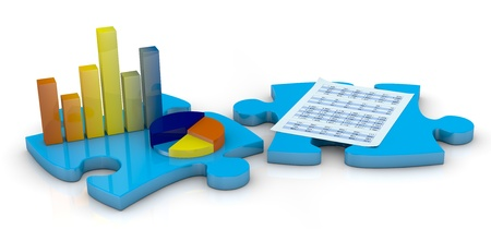 company profile: bar chart and pie chart on a puzzle piece and a sheet on another piece (3d render) Stock Photo