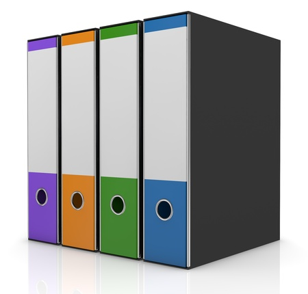 row of four office folders in different colors (3d render) Stock Photo - 13936425