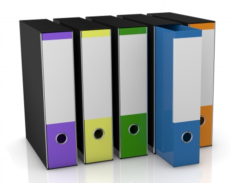 row of four office folders in different colors (3d render) Stock Photo - 13936429