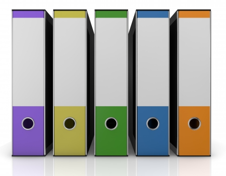 front view of a row of office folders in different colors (3d render) photo