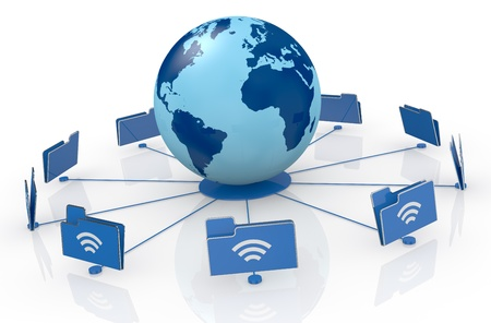 network server: one world globe with wireless connection and computer folder icons around it (3d render) Stock Photo